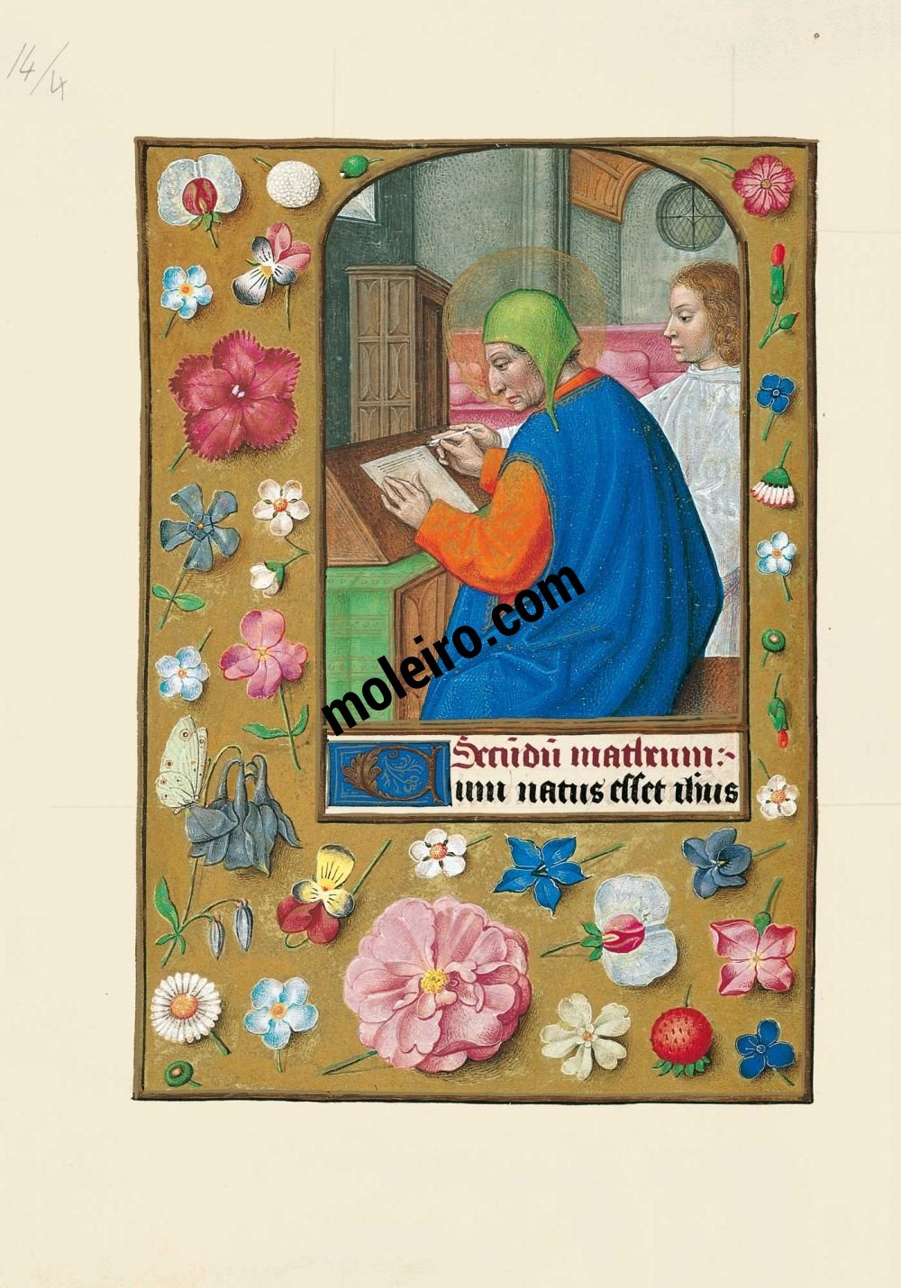 The Hours of Joanna I of Castile, Joanna the Mad (The London Rothschild Prayerbook) f. 14v, St. Matthew