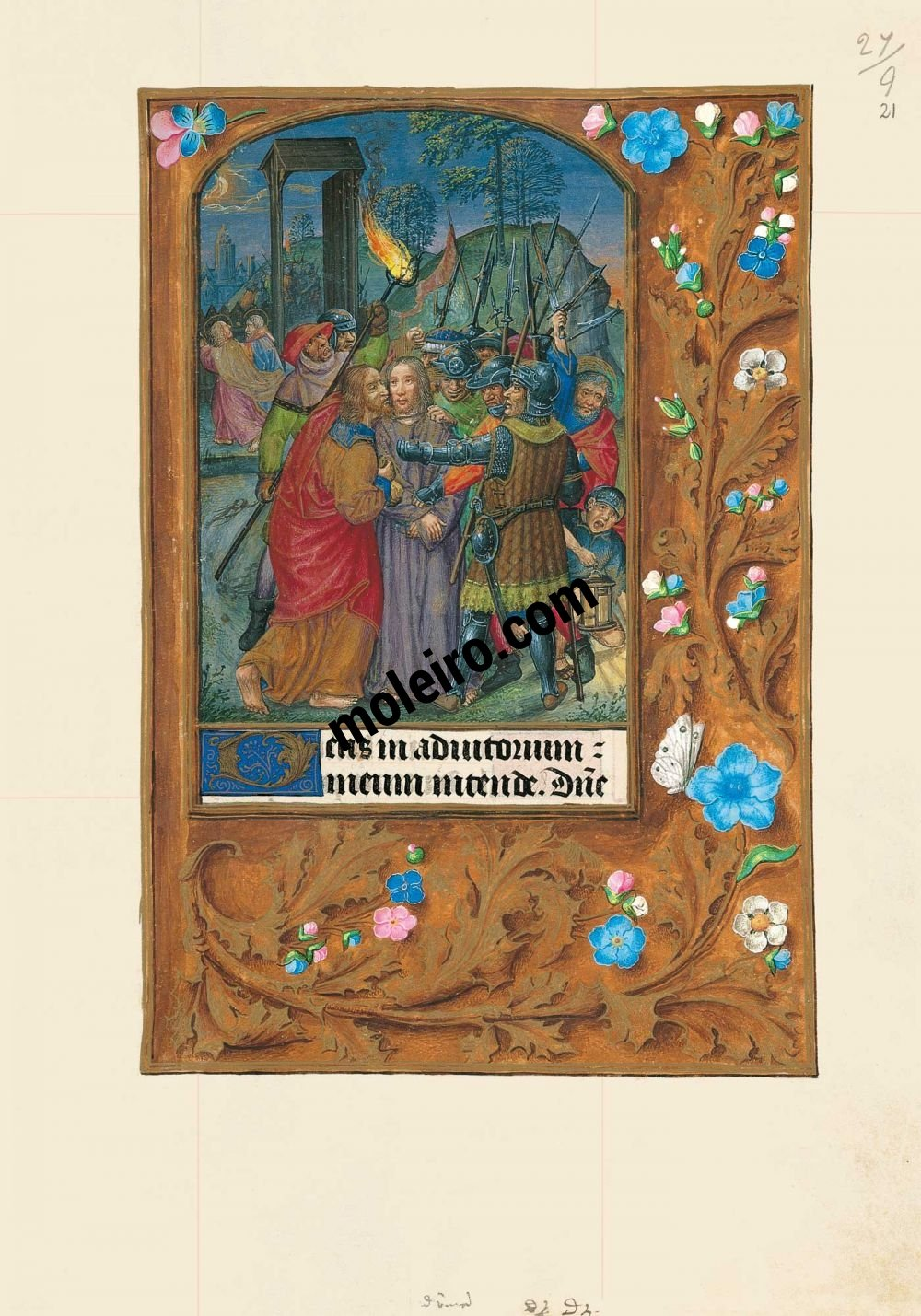 The Hours of Joanna I of Castile, Joanna the Mad (The London Rothschild Prayerbook) f. 21r, The kiss of Judas