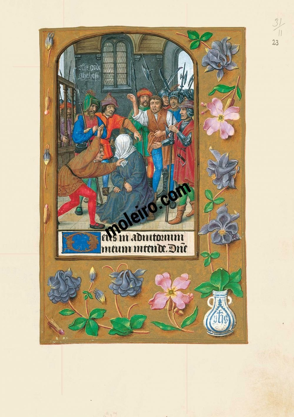 The Hours of Joanna I of Castile, Joanna the Mad (The London Rothschild Prayerbook) f. 23r, Derision of Christ