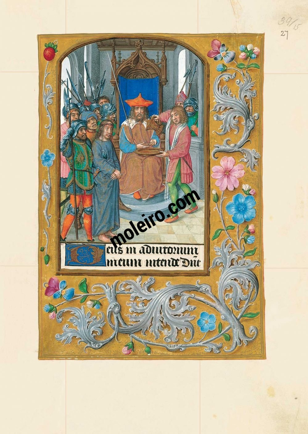 The Hours of Joanna I of Castile, Joanna the Mad (The London Rothschild Prayerbook) f. 27r, Christ before Pilate