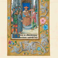 f. 27r, Cristo ante Pilatos y el lavatorio de manos