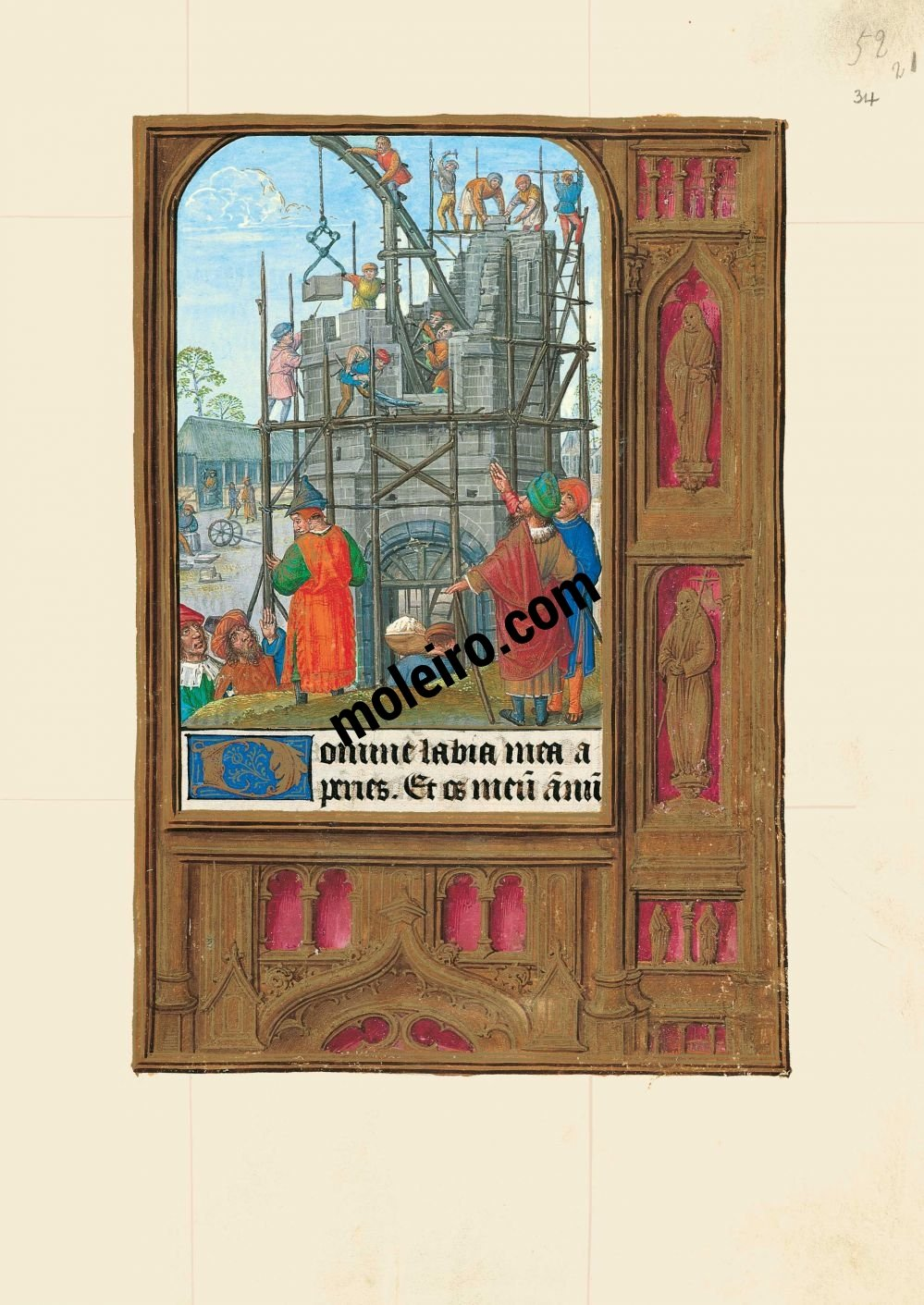 The Hours of Joanna I of Castile, Joanna the Mad (The London Rothschild Prayerbook) f. 34r, Tower of Babel