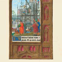 f. 34r, La construcción de la Torre de Babel