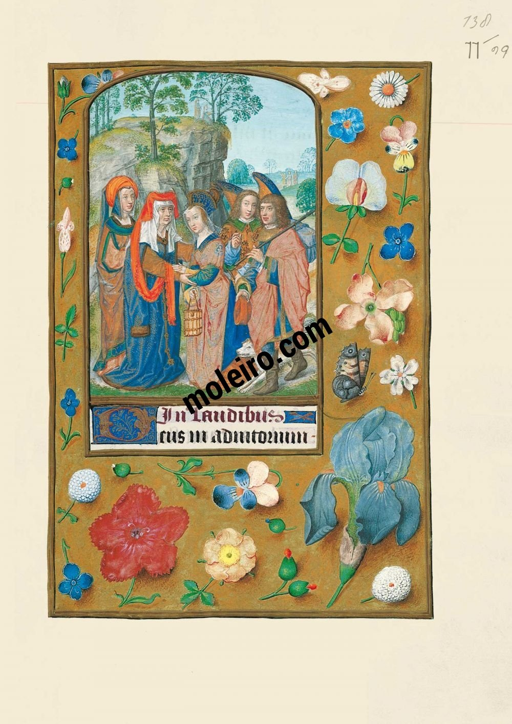 The Hours of Joanna I of Castile, Joanna the Mad (The London Rothschild Prayerbook) f. 77r, Sarah and Tobias received by Anna
