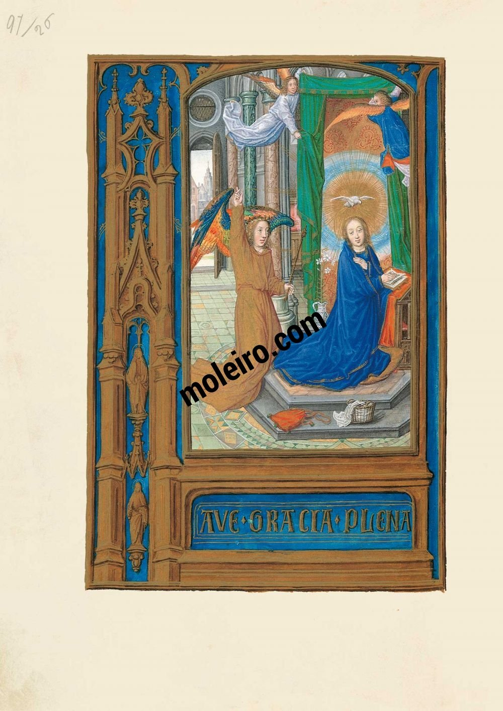 The Hours of Joanna I of Castile, Joanna the Mad (The London Rothschild Prayerbook) f. 56v, The Annunciation
