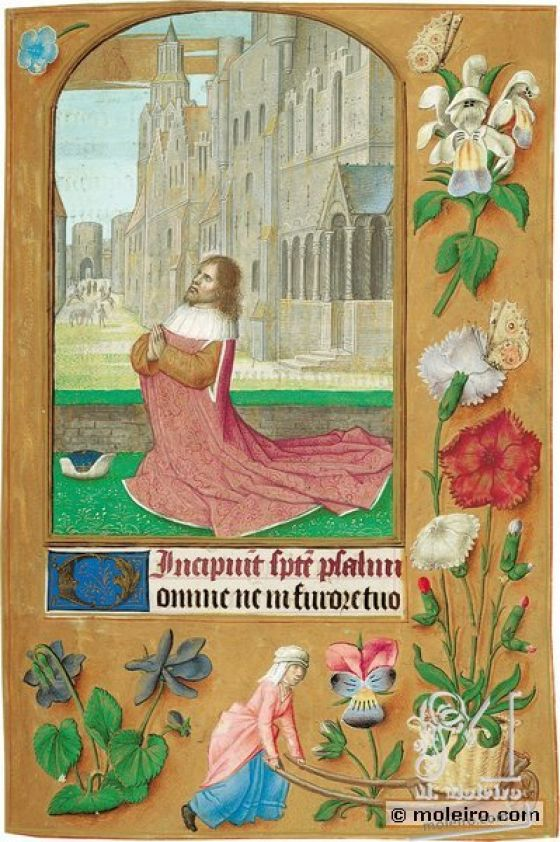 The Hours of Joanna I of Castile, Joanna the Mad (The London Rothschild Prayerbook) f. 135r, David praying
