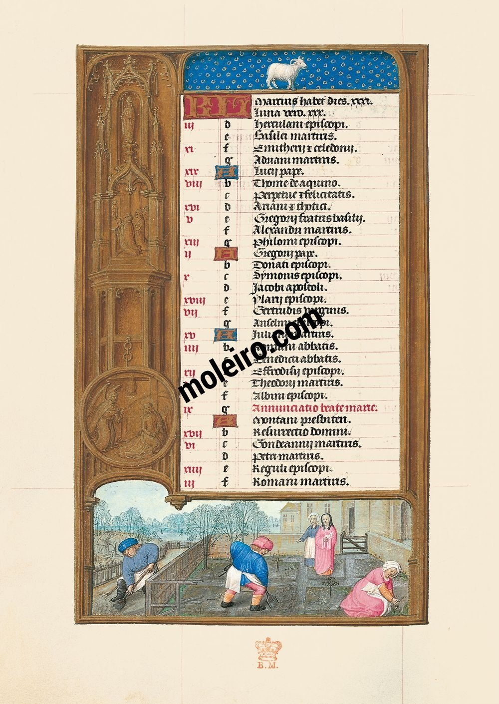 The Hours of Joanna I of Castile, Joanna the Mad (The London Rothschild Prayerbook) f. 2v, Calendar, March
