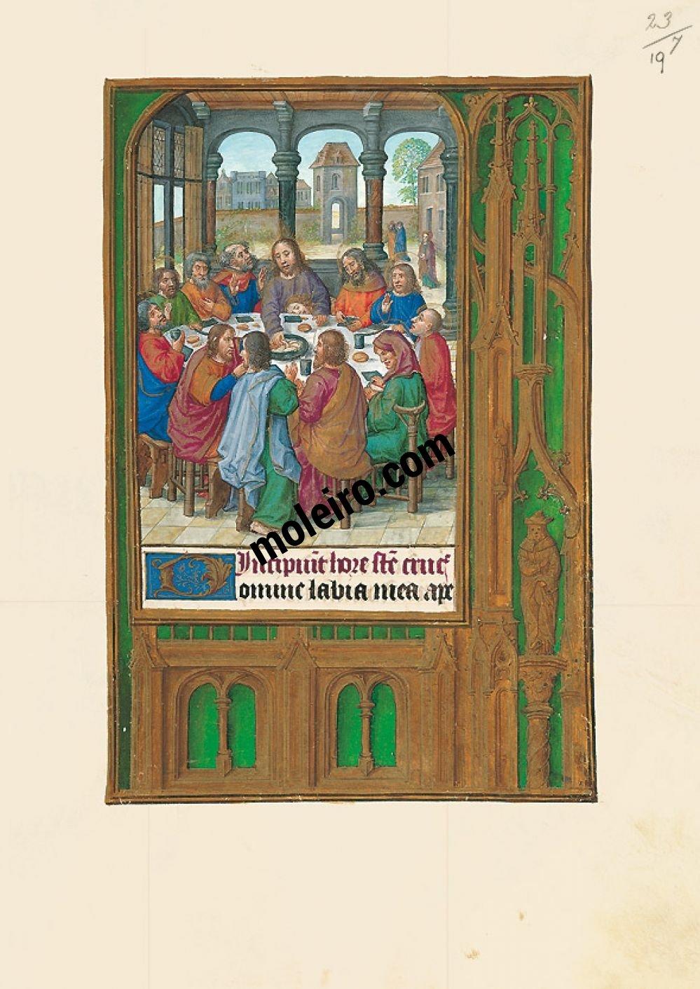 Les Heures de Jeanne Ire de Castille, Jeanne la Folle f. 19r, La Cène