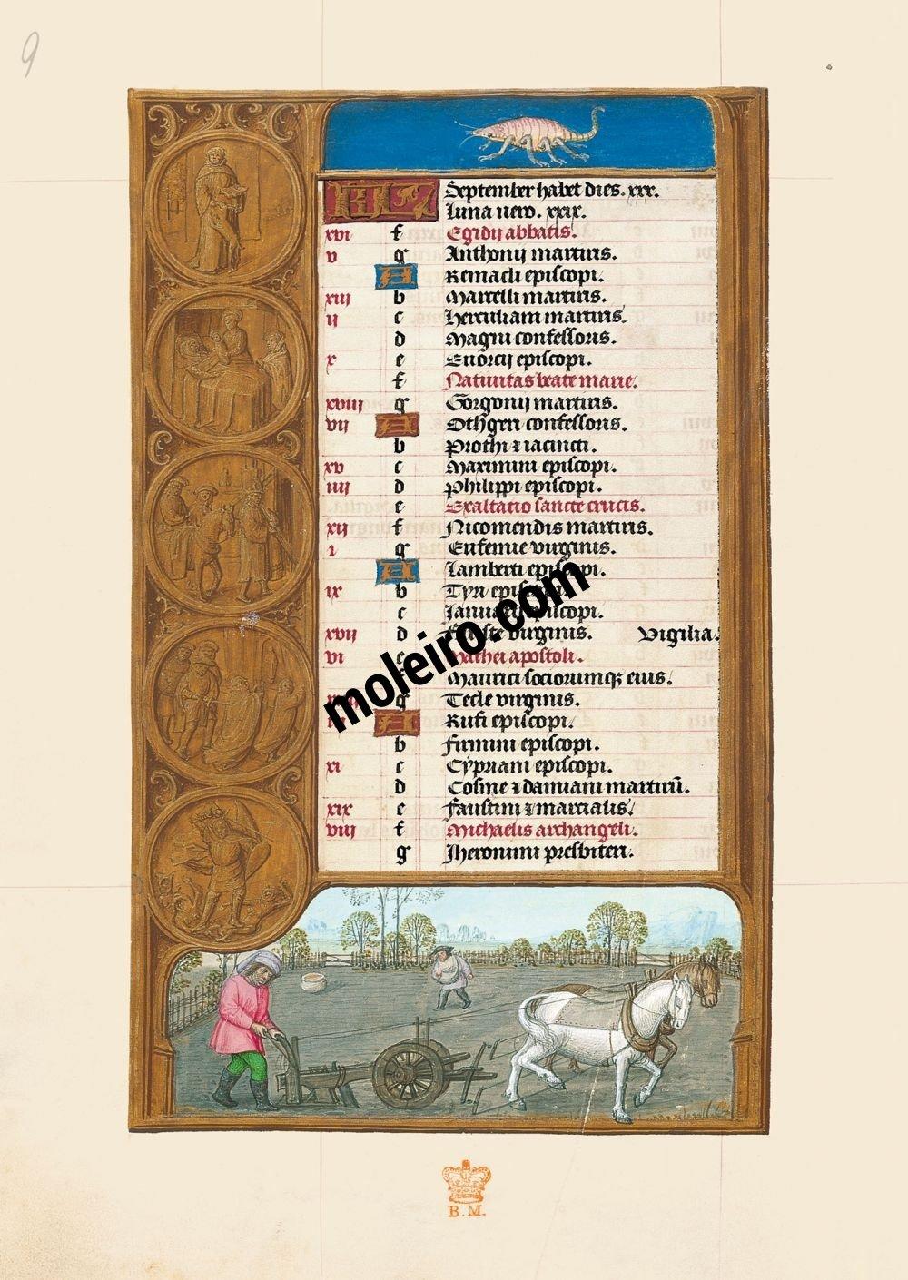 The Hours of Joanna I of Castile, Joanna the Mad (The London Rothschild Prayerbook) f. 5v, Calendar, September