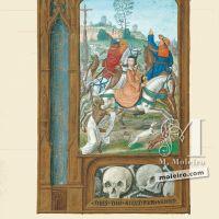 f. 158v, La leyenda del encuentro de los tres vivos y de los tres muertos
