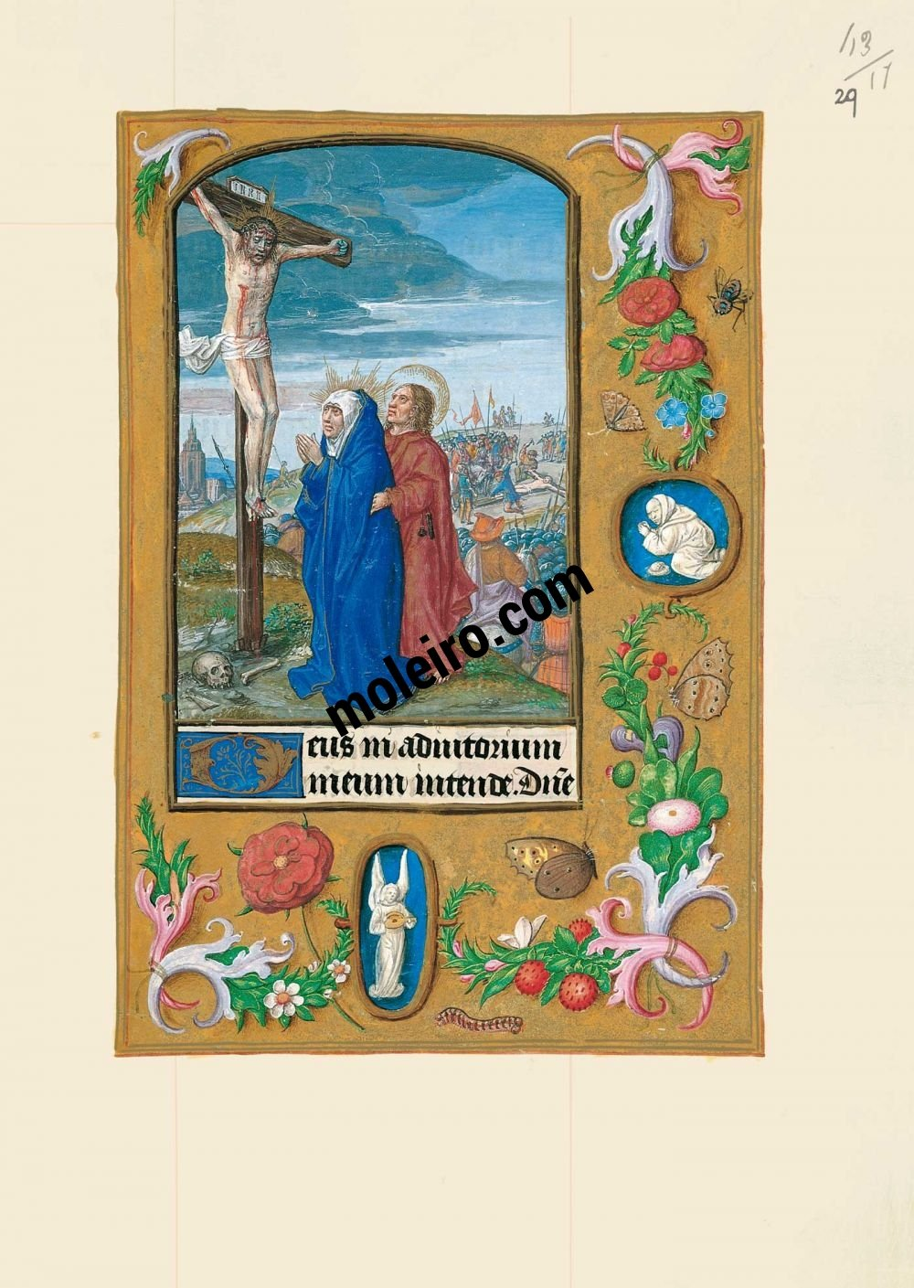 The Hours of Joanna I of Castile, Joanna the Mad (The London Rothschild Prayerbook) f. 29r, Jesus nailed to the cross and the crucifixion