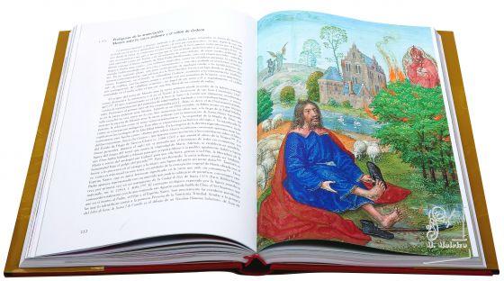 Libro de Horas de Juana I de Castilla f. 57r, Prefiguras de la anunciación: Moisés ante la zarza ardiente y el vellón de Gedeón