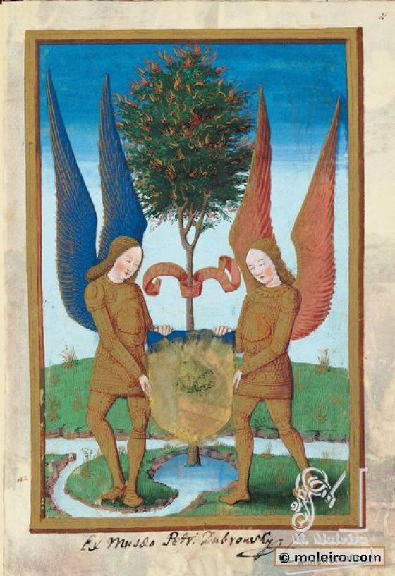 Libro de Horas de Luis de Orleans  f. 11r, Escudo y divisa del propietario