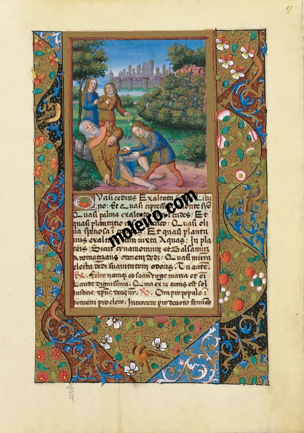 Book of Hours of Louis of Orleans f. 17r. The derision of Noah