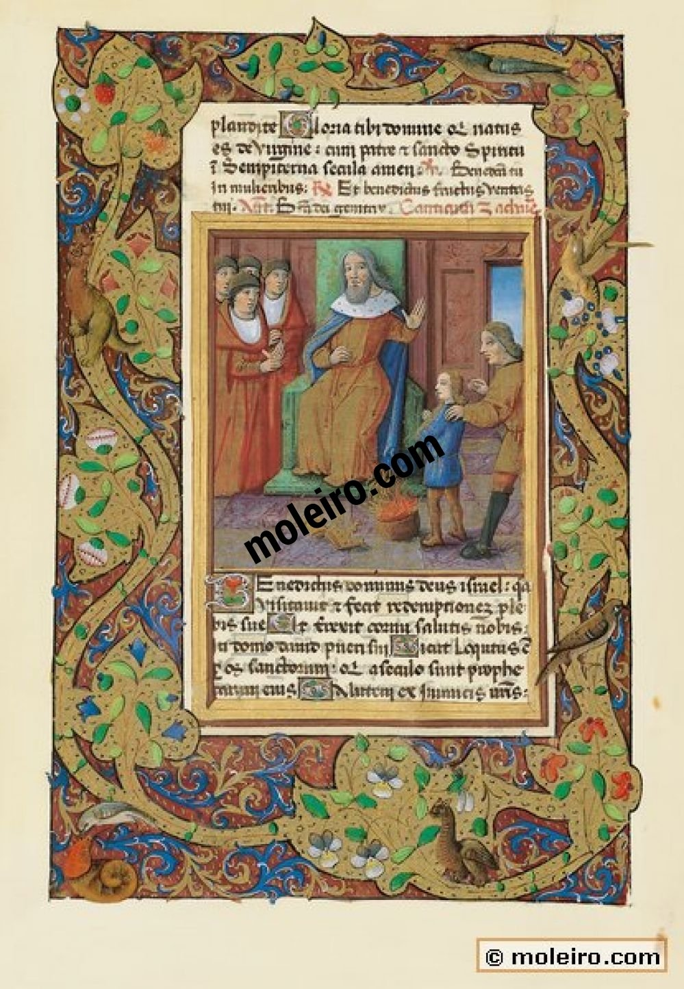 Book of Hours of Louis of Orleans f. 23v,The boy Moses throws the pharaoh's crown. The trial by fire