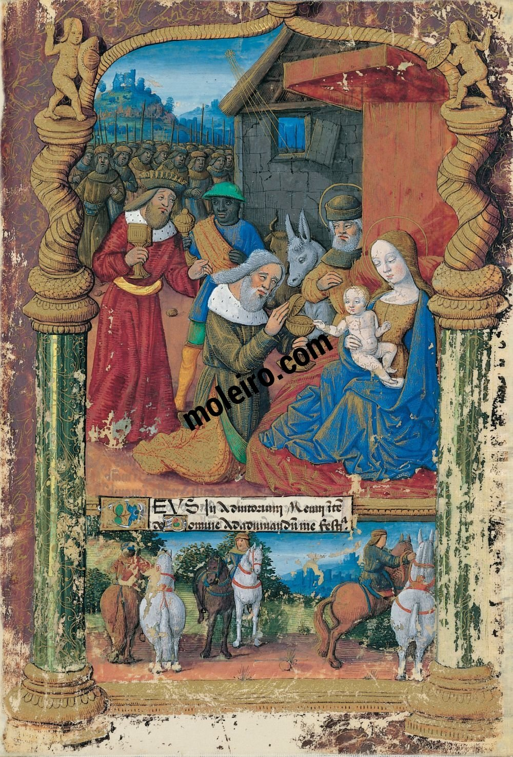 Book of Hours of Louis of Orleans f. 31r, Sixth: The adoration of the Magi