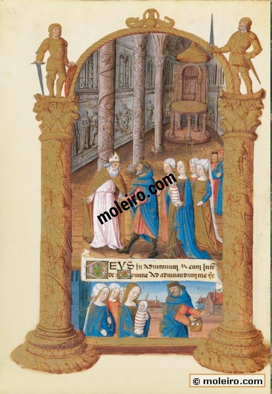 Libro de Horas de Luis de Orleans  f. 33v, Nona: la Presentación en el Templo