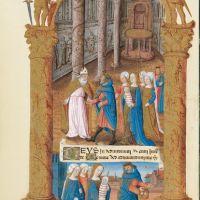 f. 33v,Nones: the Presentation in the Temple