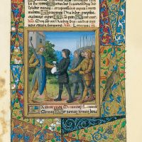 f. 37r, Eglon receives Ehud's tribute or Ezechias pays tribute to Sennacherib