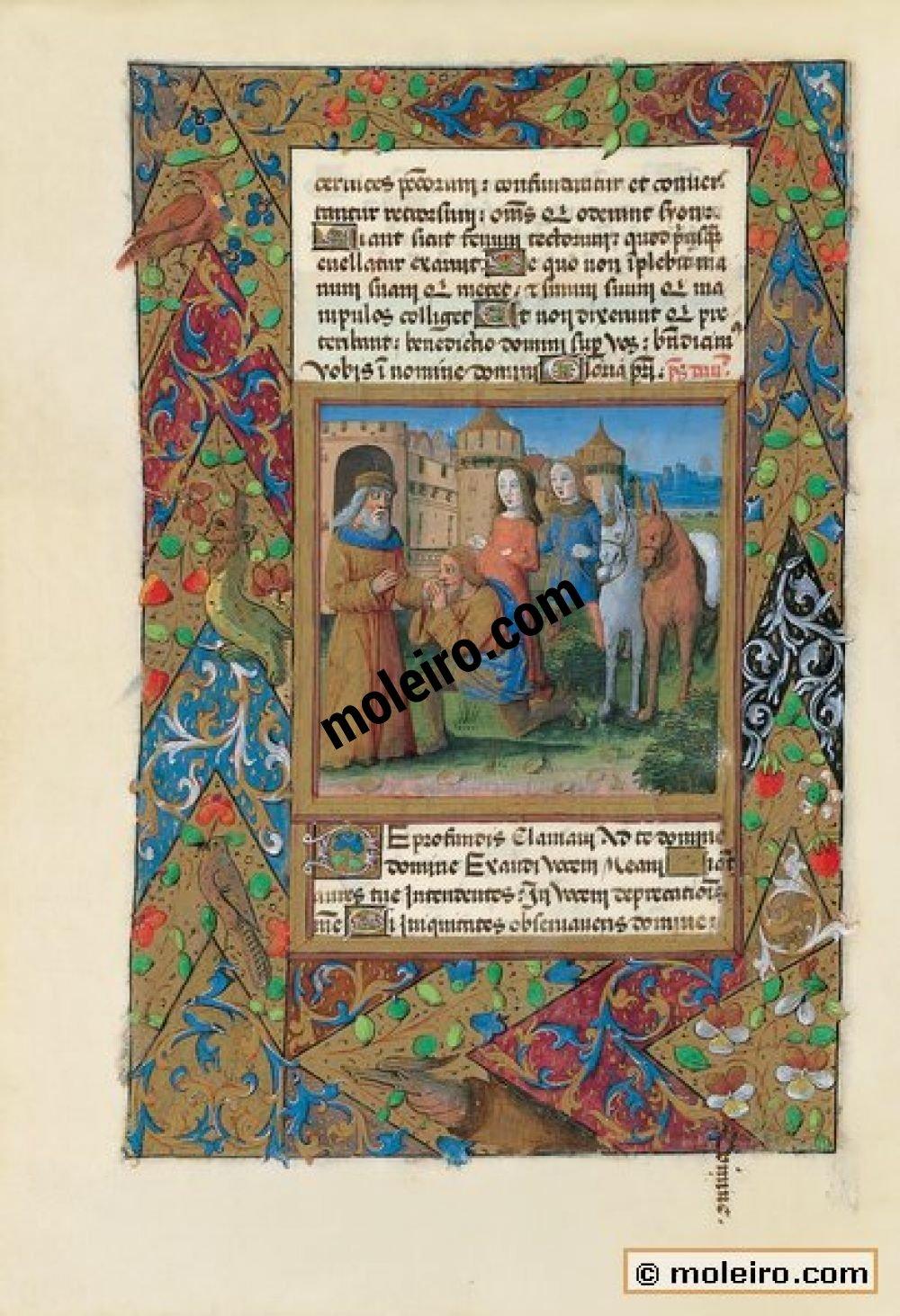 Libro de Horas de Luis de Orleans  f. 41v, Tobías saluda a su padre en Nínive