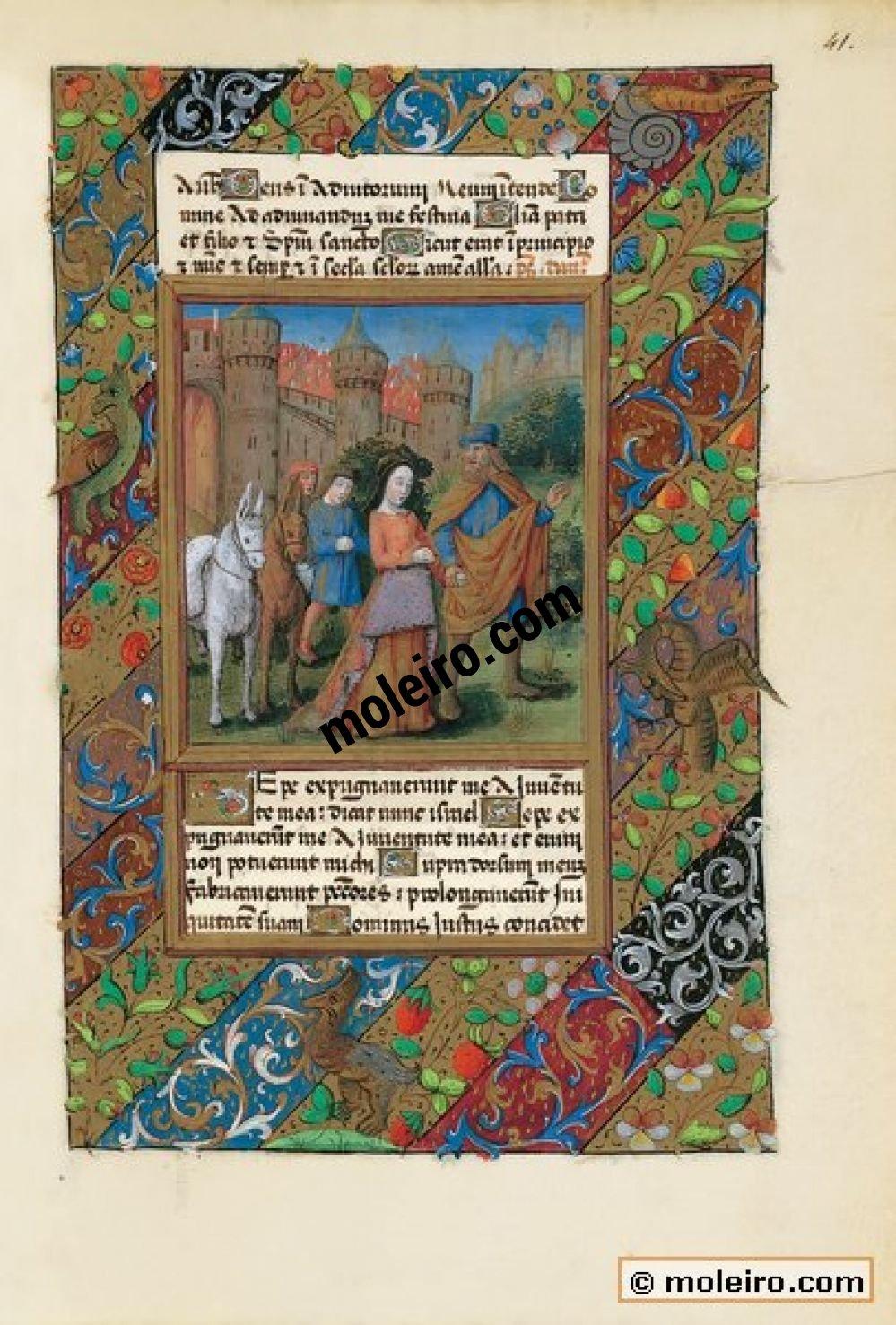 Libro de Horas de Luis de Orleans  f. 41r, Tobías y Sara abandonan Echátana