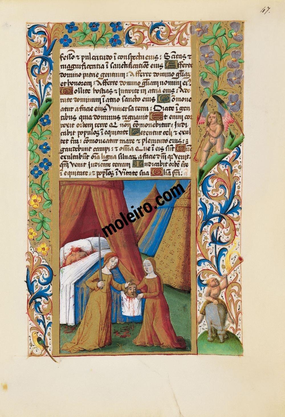 Libro de Horas de Luis de Orleans  f. 47r, Judit entrega a su criada la cabeza de Holofernes