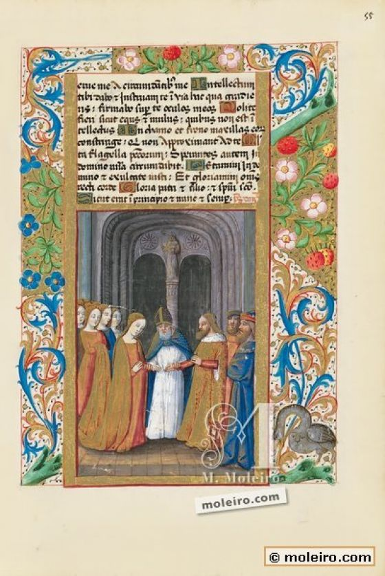 Book of Hours of Louis of Orleans f. 55r, The nuptials of David and Michol
