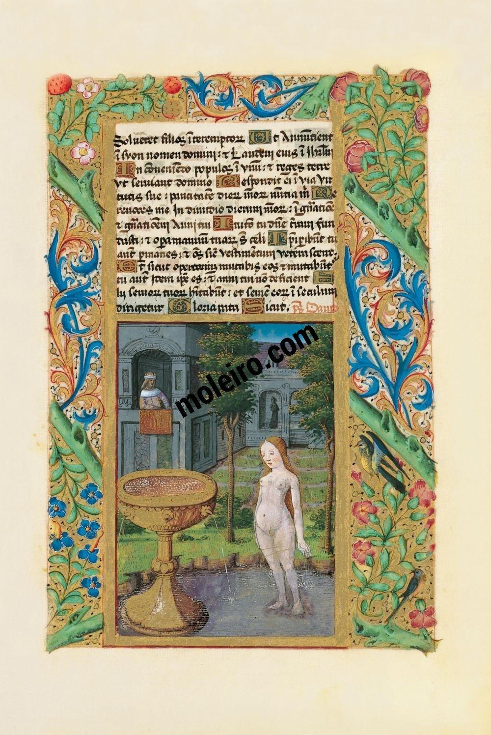 Libro de Horas de Luis de Orleans  f. 58r, El baño de Betsabé