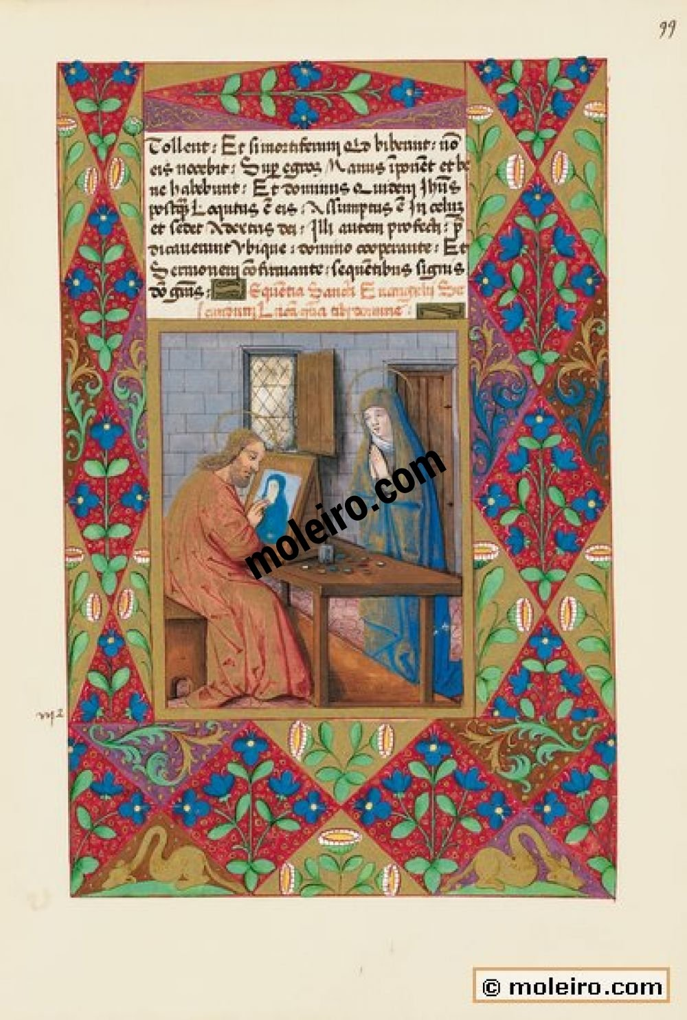 Libro de Horas de Luis de Orleans  f. 99r, San Lucas