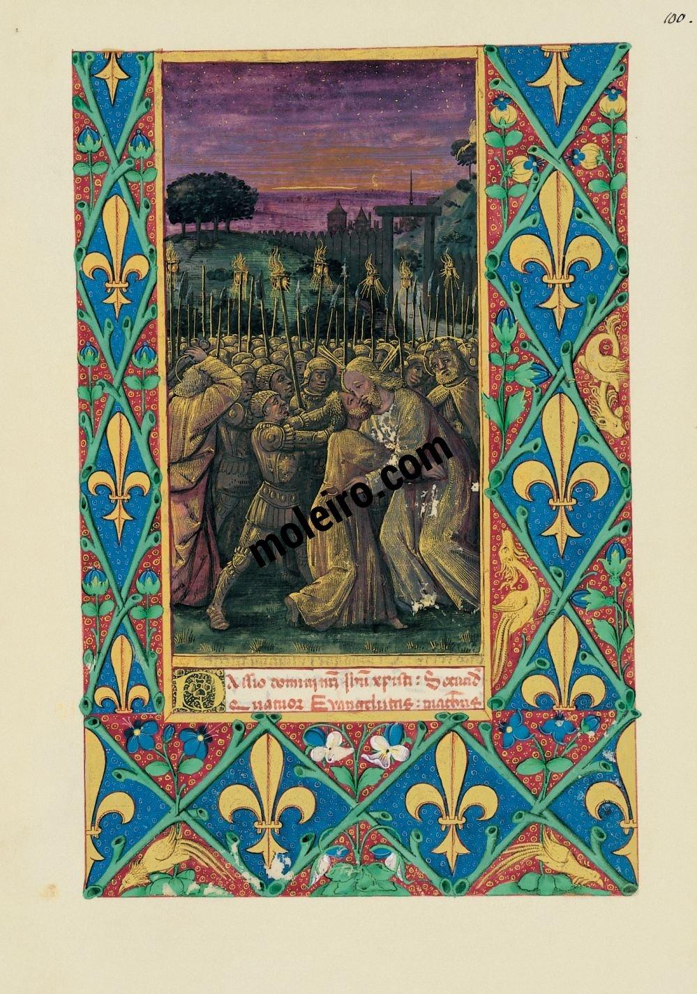 Libro de Horas de Luis de Orleans  f. 100r, El beso de Judas