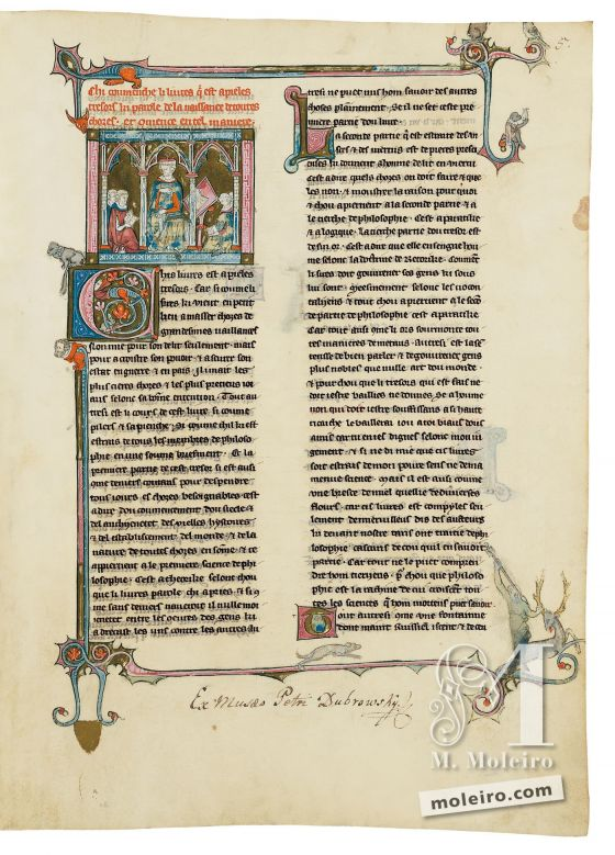 Book of Treasures f. 5r, Master with his clergymen pupils