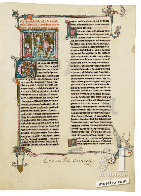 Livro do Tesouro f. 5r, Mestre com os seus discípulos-clérigos