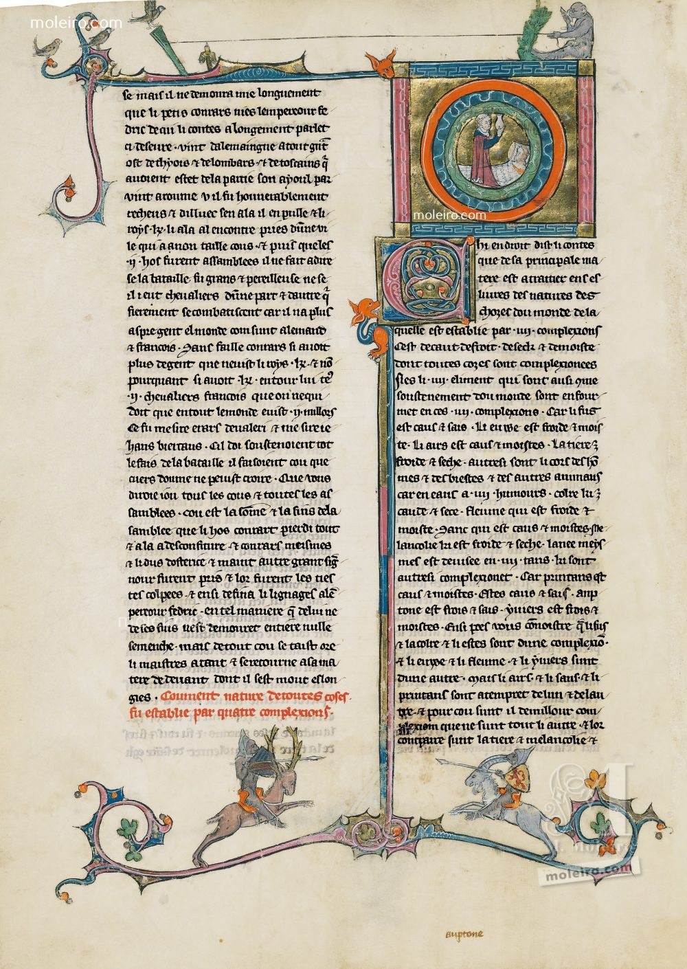 Book of Treasures f. 28v, The four elements that comprise the nature of men