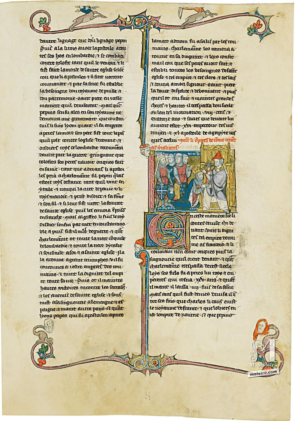 Book of Treasures f. 24r, The coronation of Charlemagne by the pope
