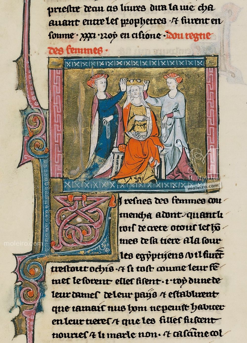Book of Treasures f. 13, Penthesilea, queen of the Amazons, with her ladies-in-waiting