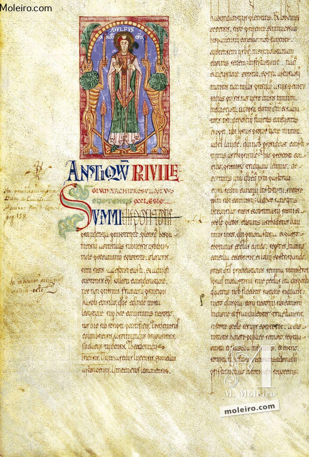 Das Buch der Testamente f. 3v, Erzbischof Adolf
