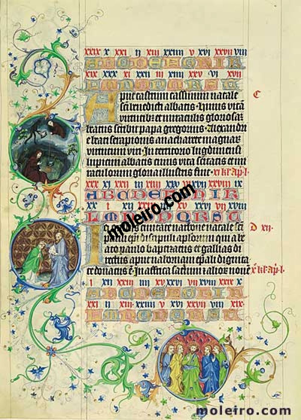 Martyrology of Usuard Images of the Medallions, 21st-22nd March, f.33v
