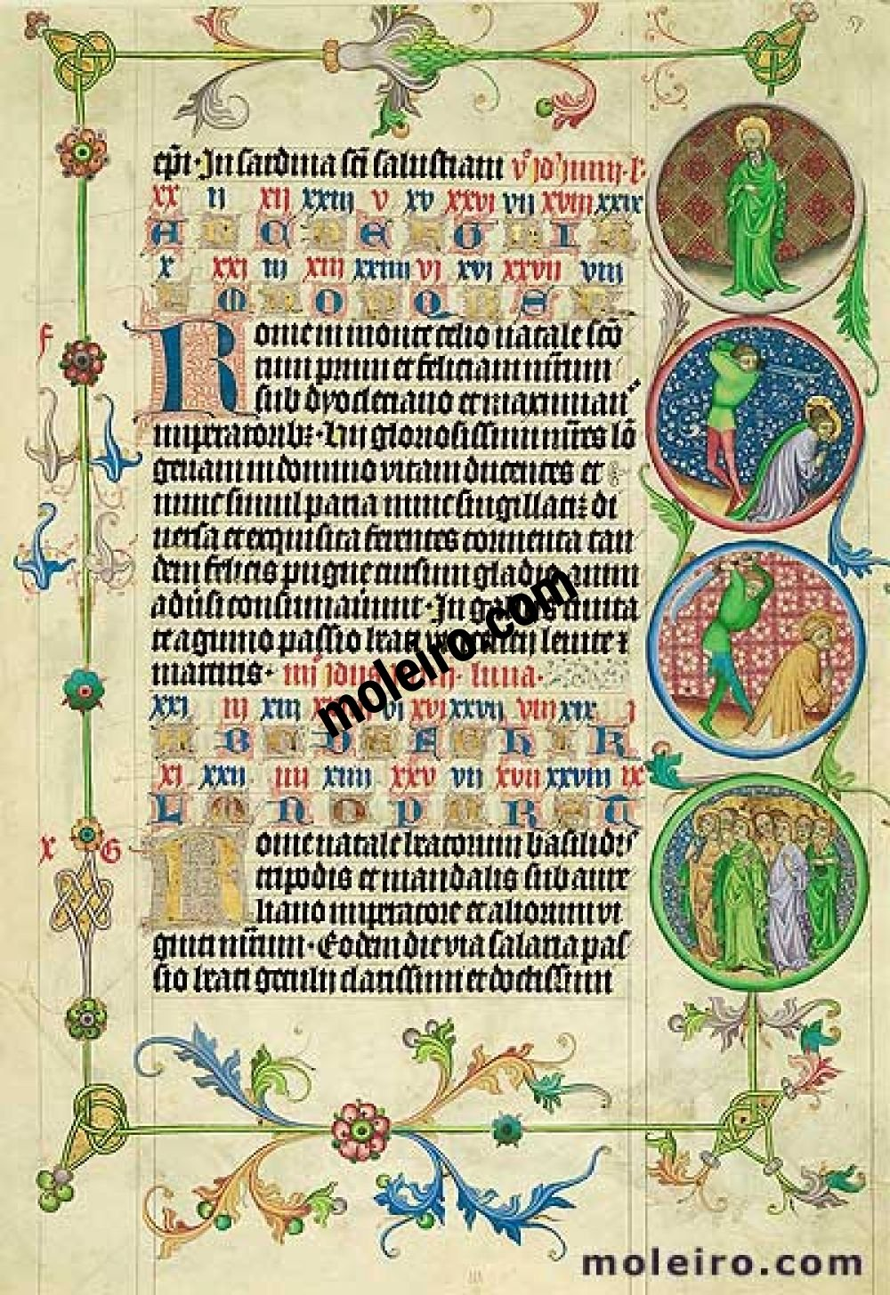 Martyrology of Usuard Images of the Medallions, 9-10th June, folio 59r