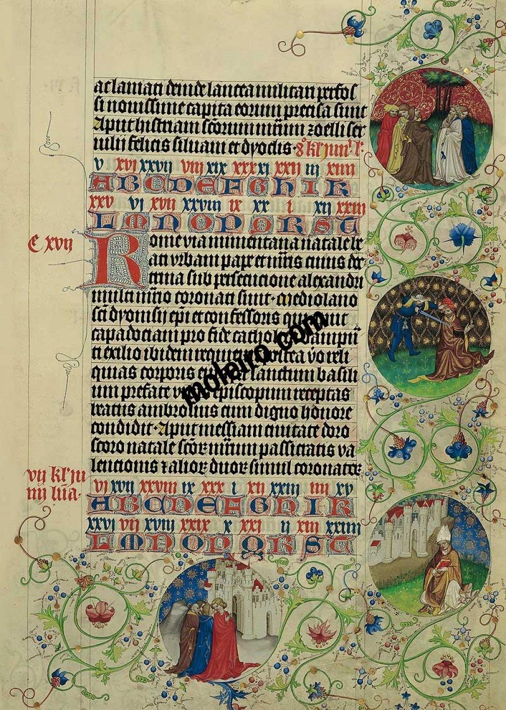 Martirologio de Usuardo Imágenes de los Medallones del 25 de mayo, folio 54r