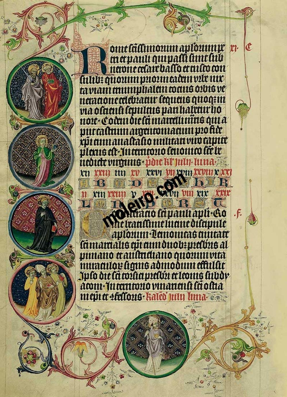 Martirologio de Usuardo Imágenes de los Medallones del 29 al 30 de junio, folio 65v