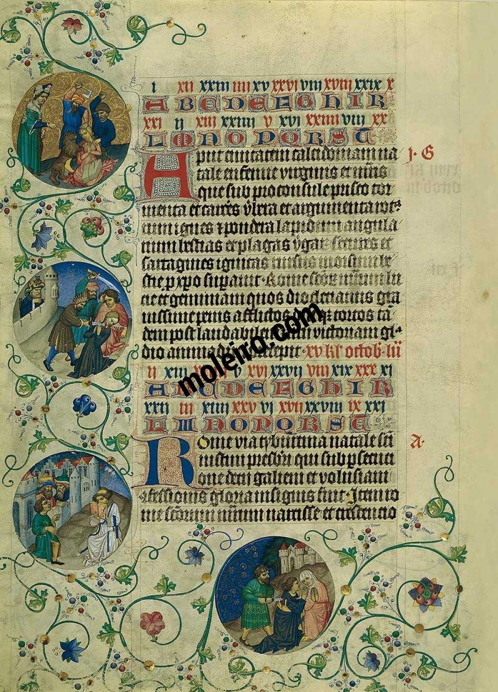 Martirologio de Usuardo Imágenes de los Medallones, del 16 al 17 de septiembre, folio 92v