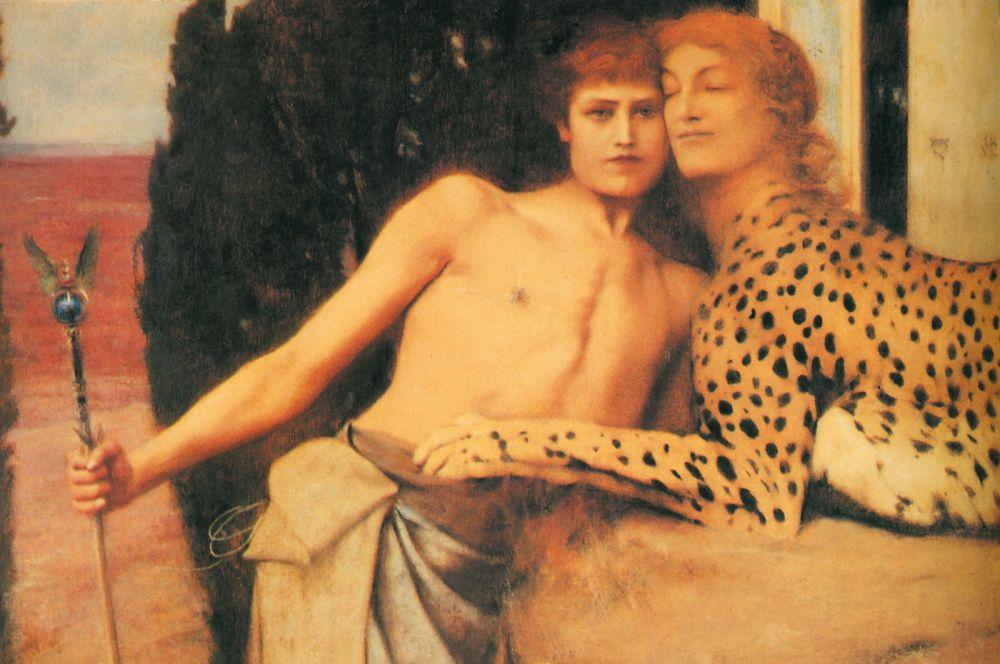 Mujeres. Mitologías Fernand Khnopff,Die Zärtlichkeit der Sphinx oder Liebkosungen, 1896.