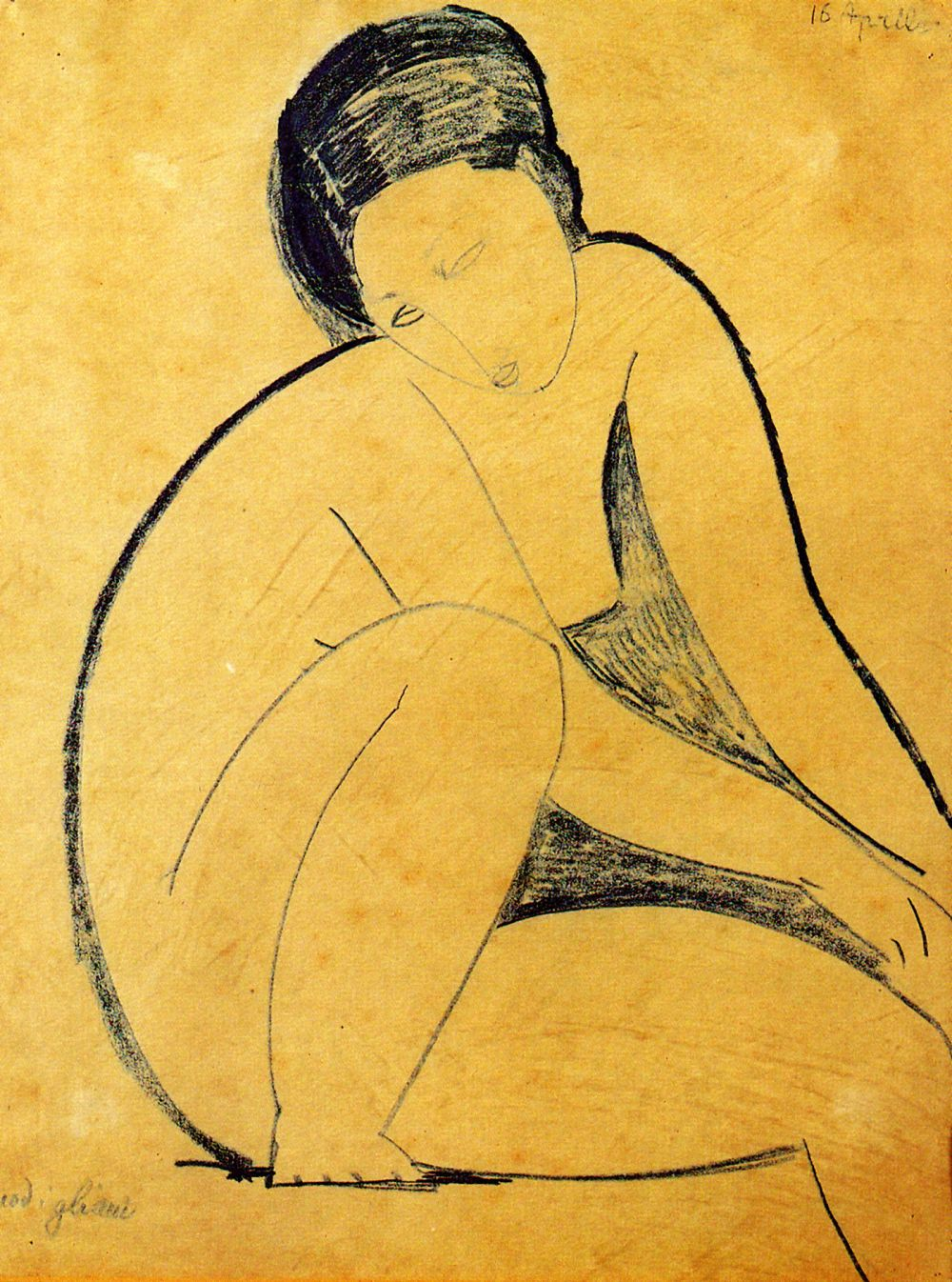 Mujeres. Mitologías Amedeo Modigliani, Seated nude (pen and blue ink), 20th C.