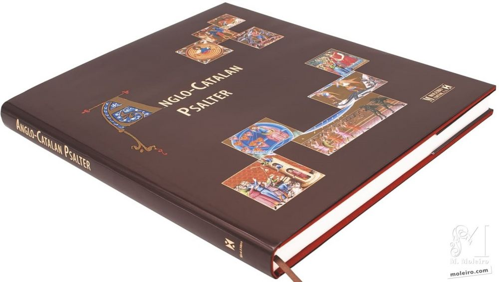 Photo of the cover and spine of the Anglo-Catalan Psalter, art book edition, cloth binding.