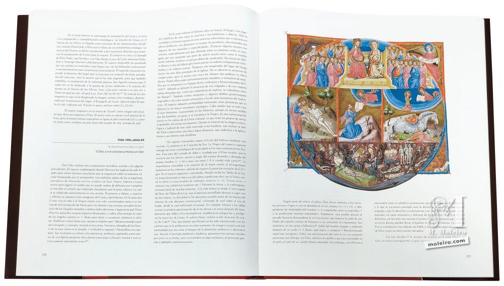 Fotografía de las páginas 230 y 231 del Salterio Triple Glosado, con una composición novedosa, extraña a las páginas precedentes.
