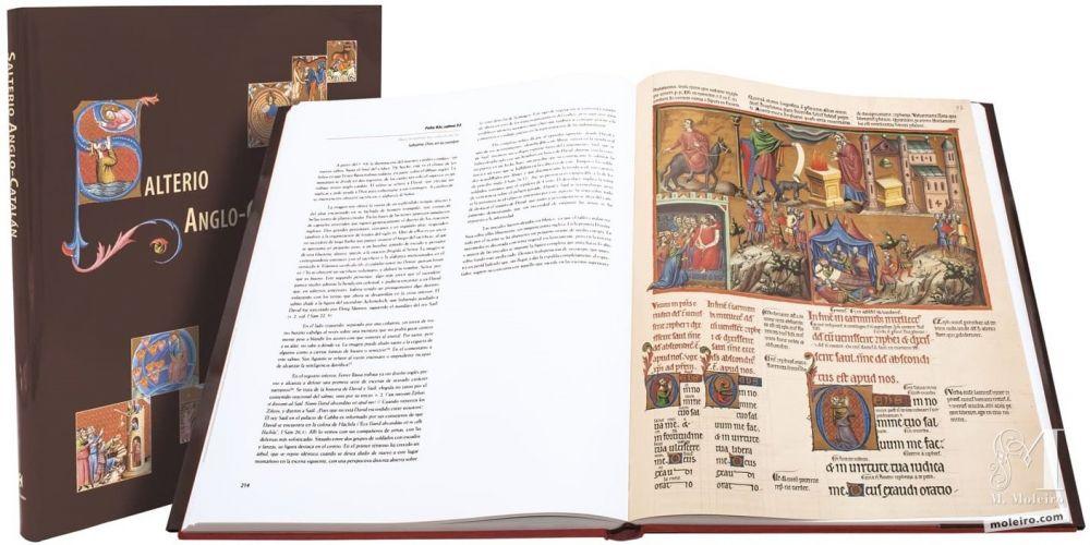 Salterio Triple Glosado de la Bnf de Francia, manuscrito medieval iluminado. Imagen portada y libro abierto a doble página.