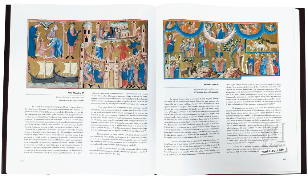 Photo of the pages 212-213 of the Anglo-Catalan Psalter, with the City of God and the two essential comings of Christ.