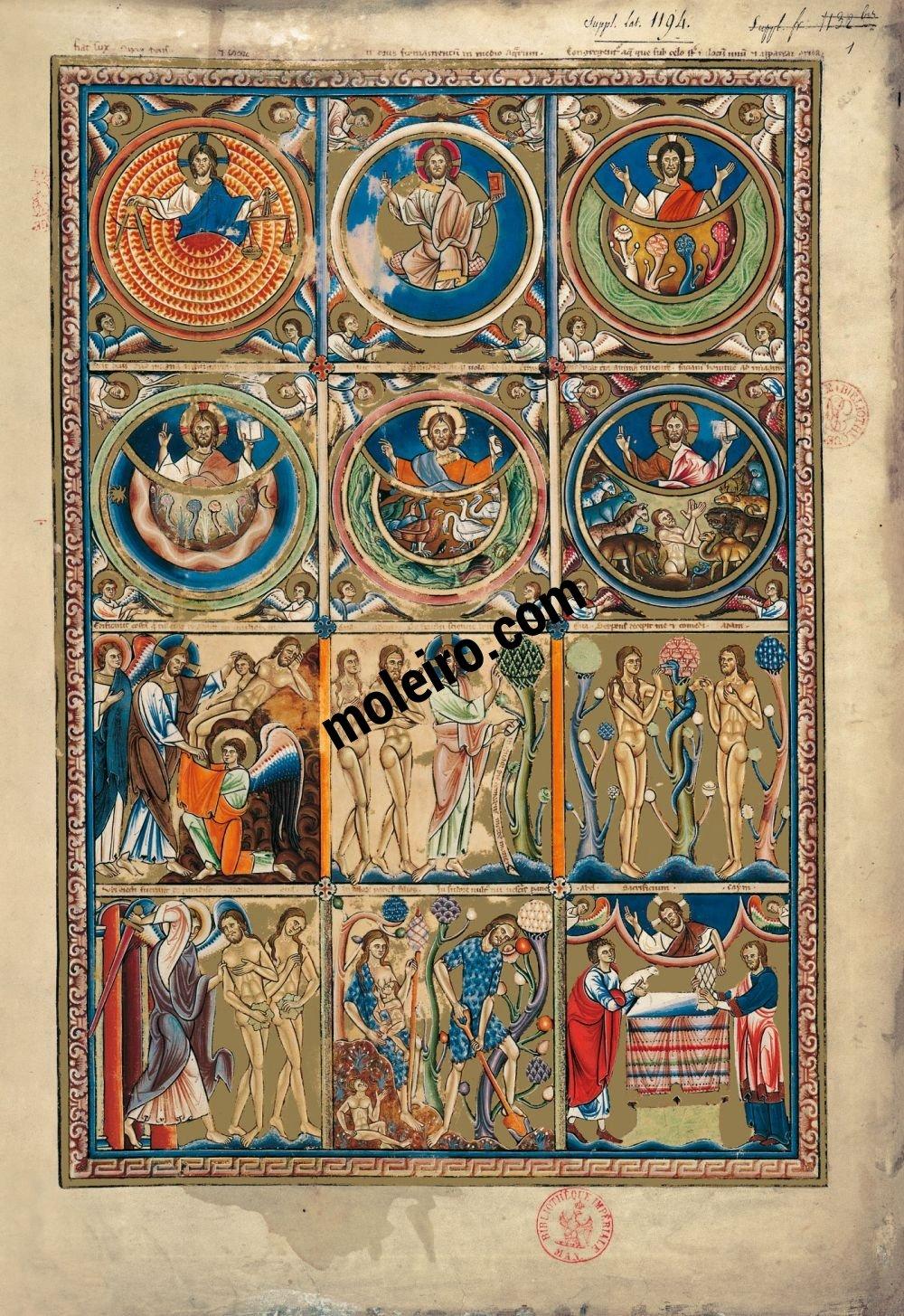 Psalterium f. 1r, Szenen der Alten Testaments: die Schöpfung