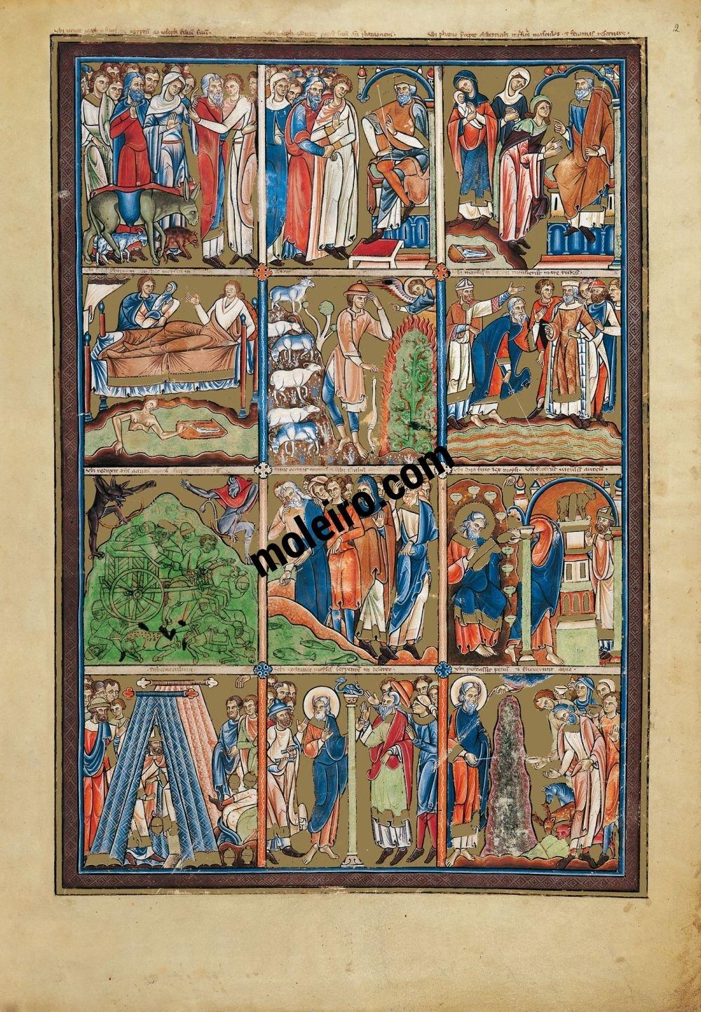 Saltério Glosado f. 2r, Cenas do Antigo Testamento: a Criação - o Êxodo