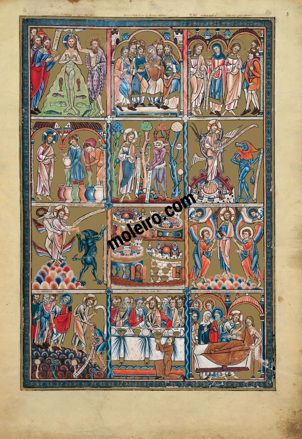 The Great Canterbury Psalter f. 3r,  Scenes from the life of Christ